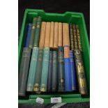 A selection of library volumes and text books including Charles Dickens and H G Wells