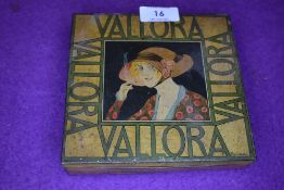 A sought after art deco Vallora'100 Viginia special' tin depicting lady in period costume with