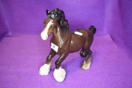 A Beswick study, Cantering Shire, brown, model no 975