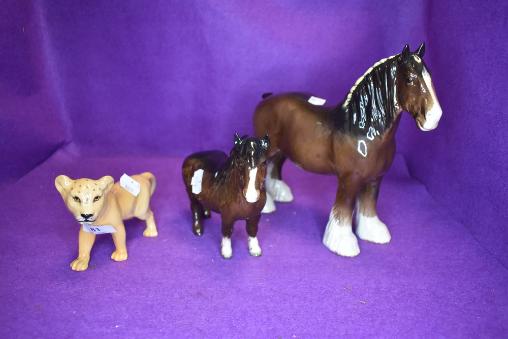 Three Beswick studies, Shire Mare, brown, model no 818, Shetland Pony, brown, model no 1033 and Lion