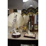 Two art deco designed figural lamp bases by Cappodimonte and similar lamp