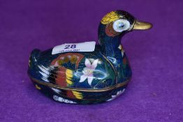 A cloisonné lidded trinket pot in the form of a duck.