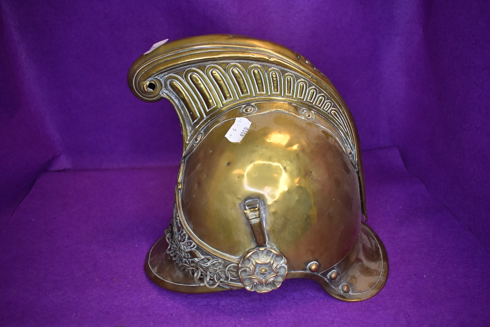 A late 19th/early 20th century French fire fighters brass helmet ' Pompiers D'ypres' no lining - Image 2 of 2
