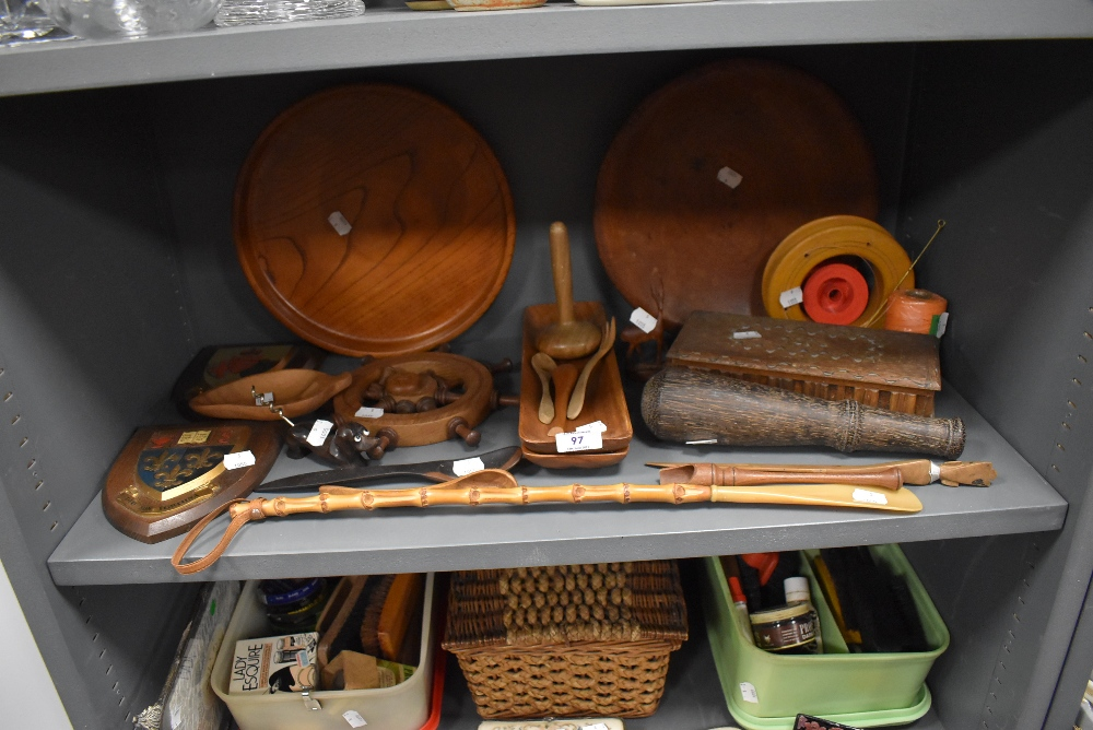 A mixed lot of vintage treen including trinket boxes,spoons,and cork screw in the form of a