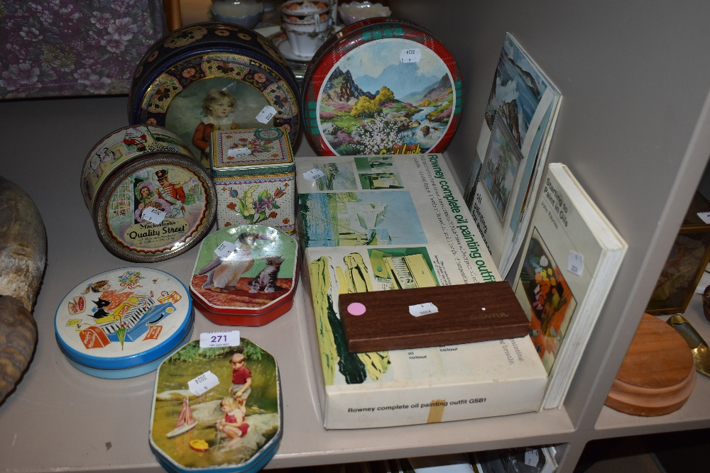 A selection of advertising transfer printed tins including 50's designs and mid century
