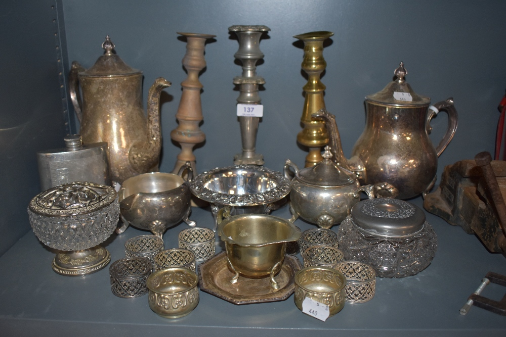 A selection of plated ware and similar including napkin rings,tea and coffee pots, dressing table