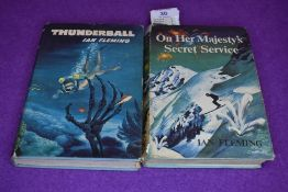 Two vintage 1960s Ian Fleming books,'On her Majesty's secret service' and 'Thunderball'