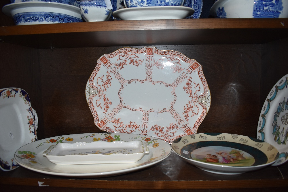 A selection of ceramics including Wedgwood charger and similar also porcelain plate etc