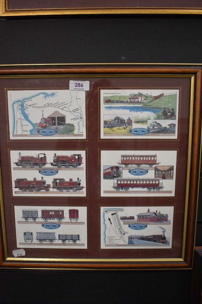 A selection of framed local interest post cards of Railway interest