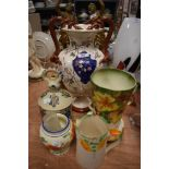A selection of Art Deco and later ceramics including hand decorated milk jug and vase