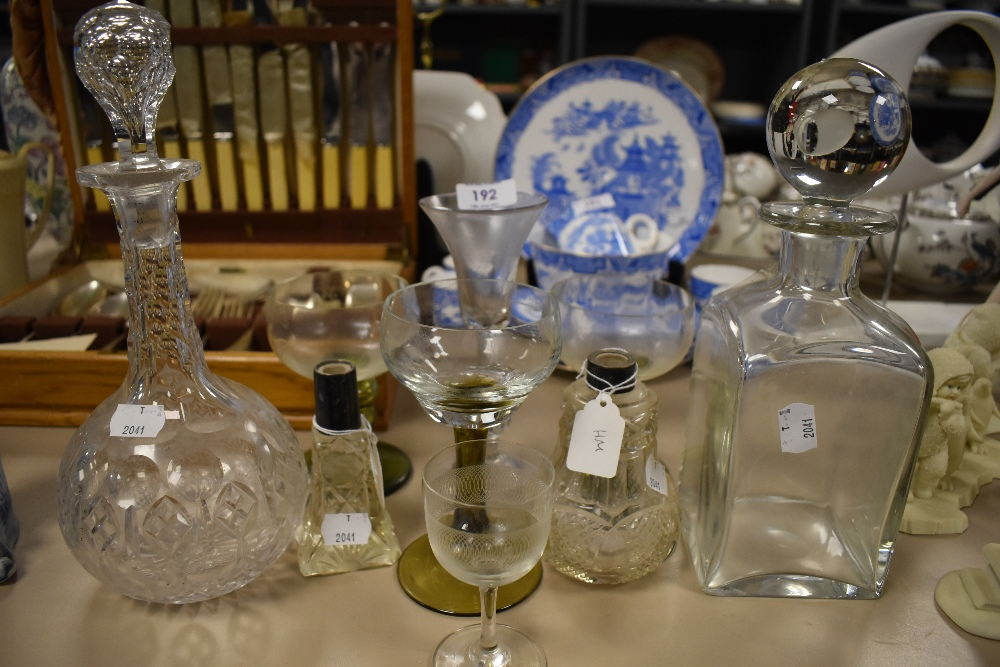 A selection of clear cut glass wares including decanter and antique wine glass AF