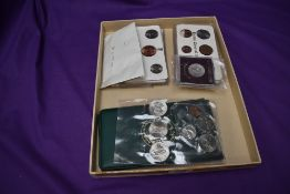 A collection of Irish Coin Sets and coins, Official 1971 x2, 1928, 1971 unofficial, 1967