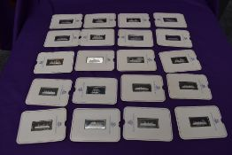A collection of 20 Birmingham Mint Silver Shipping Ingots including Titanic, Maurerania, Queen