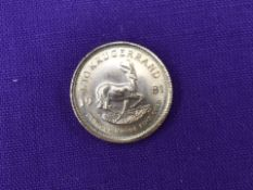 A 1981 South African Gold 1/10 Krugerrand, one tenth of an ounce of fine gold