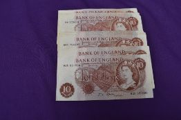 A collection of 43 used J S Fford 10 Shilling Banknotes, number number letter including 92R 527896