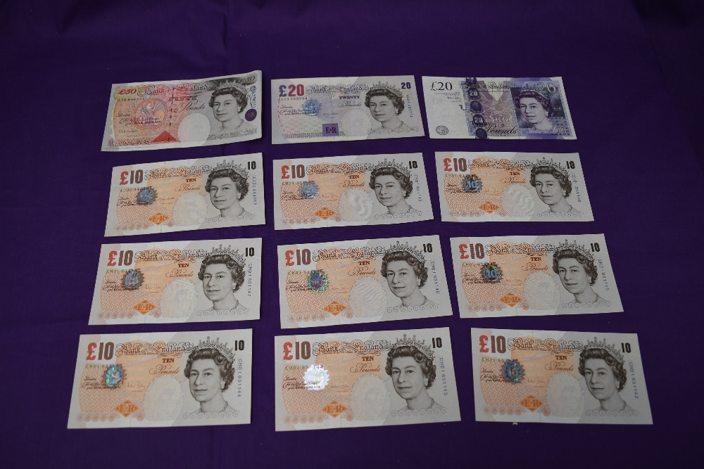 A collection of GB Banknotes, £50-£5, condition uncirculated to used, £50 note Kentfield, £20