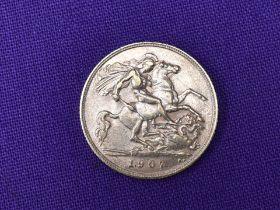 A 1907 Edward VII Gold Half Sovereign