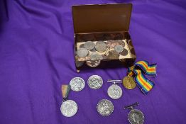 A small collection of Coins & Medals including 1951 Crown x2, 1890 Crown, 1861 Nova Scotia One Cent,
