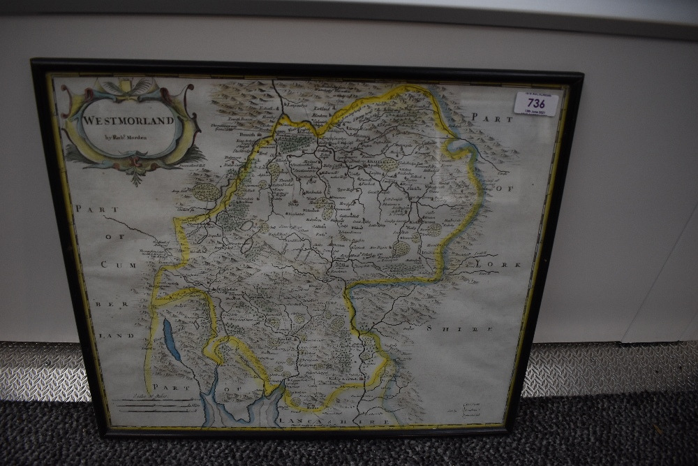 Antiquarian Map. Robert Morden. Westmorland. Later colour. Framed and glazed. (1)