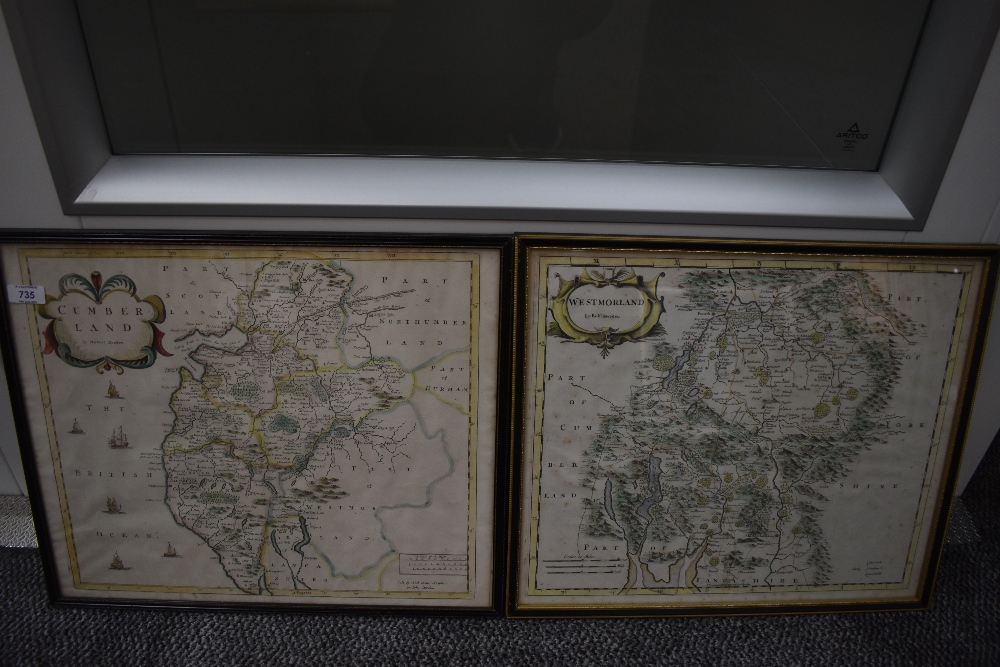Antiquarian Maps. Robert Morden. Cumberland & Westmorland. Later colouring. Framed and glazed. (2)