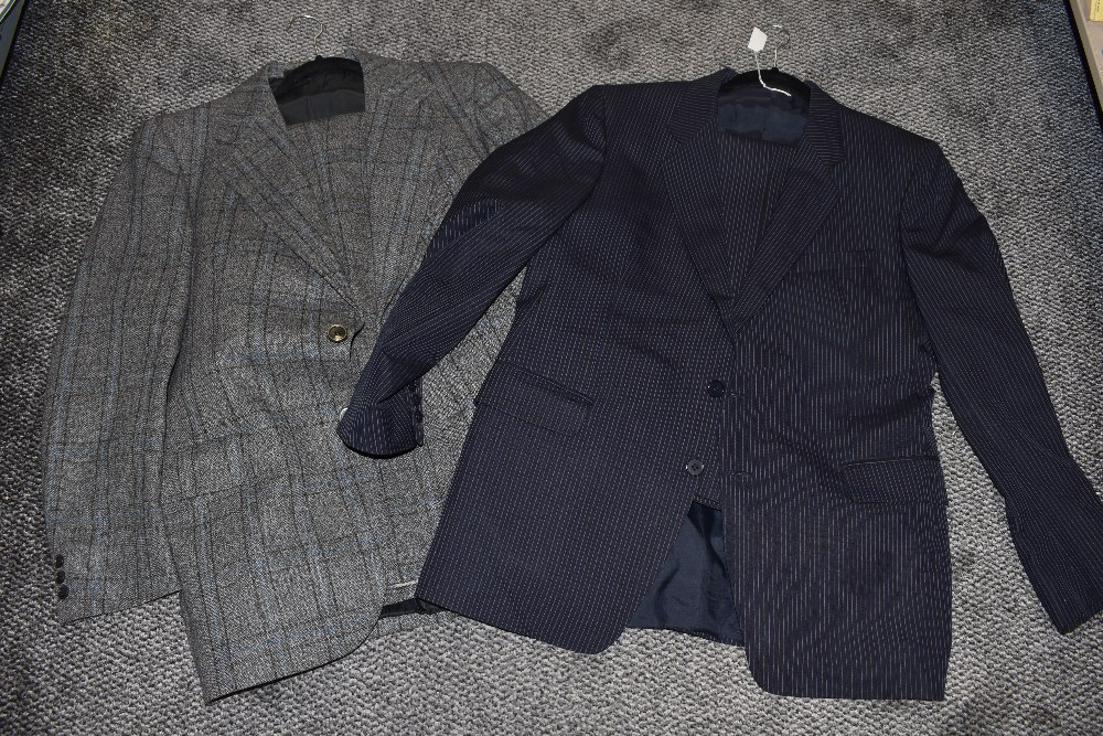 Two mens suits including woollen and pin stripe