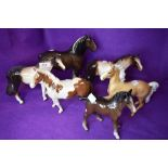 Six ceramic Horse Studies including Beswick Shire Mare, brown, model no 818, Shire Foal, brown,