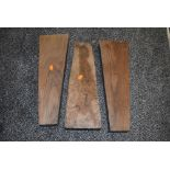 Three French Walnut Gun Stock blanks, stamped GM in a circle, length 49cm, width 16.5cm and 9cm dep