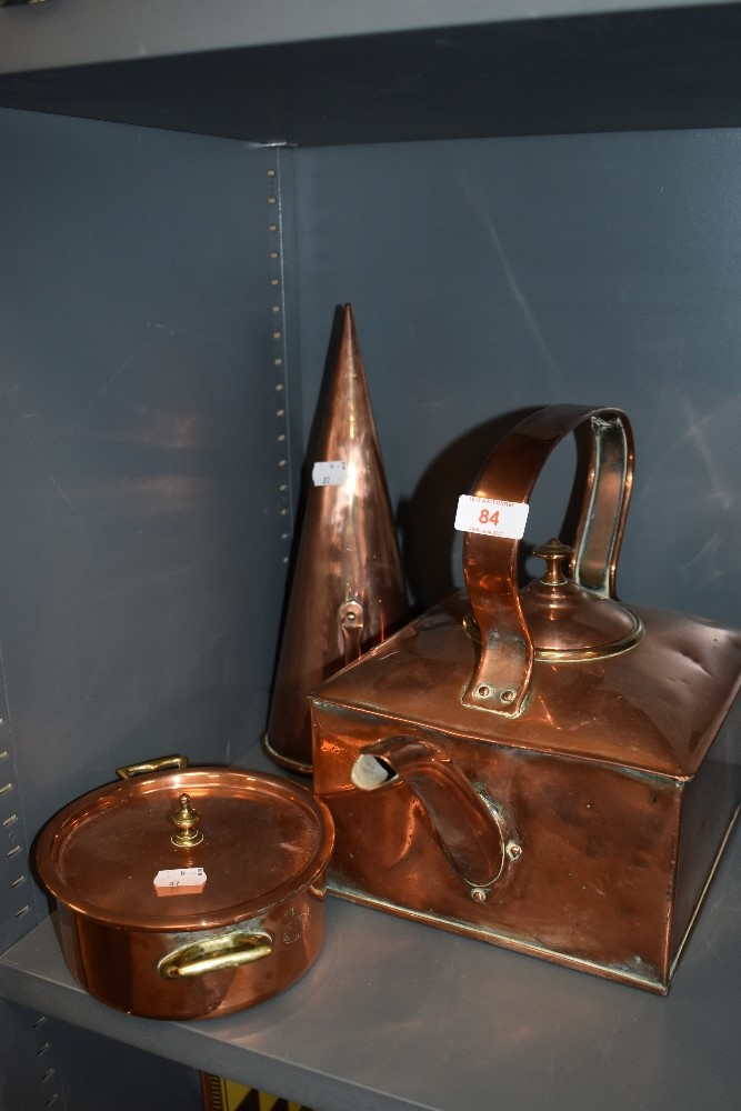 A selection of copper wares including canal barge kettle and copper scoop