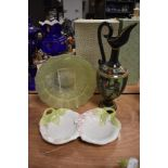 A mixed lot of items including floral serving dish,green glass bowl and wooden ewer/vase.