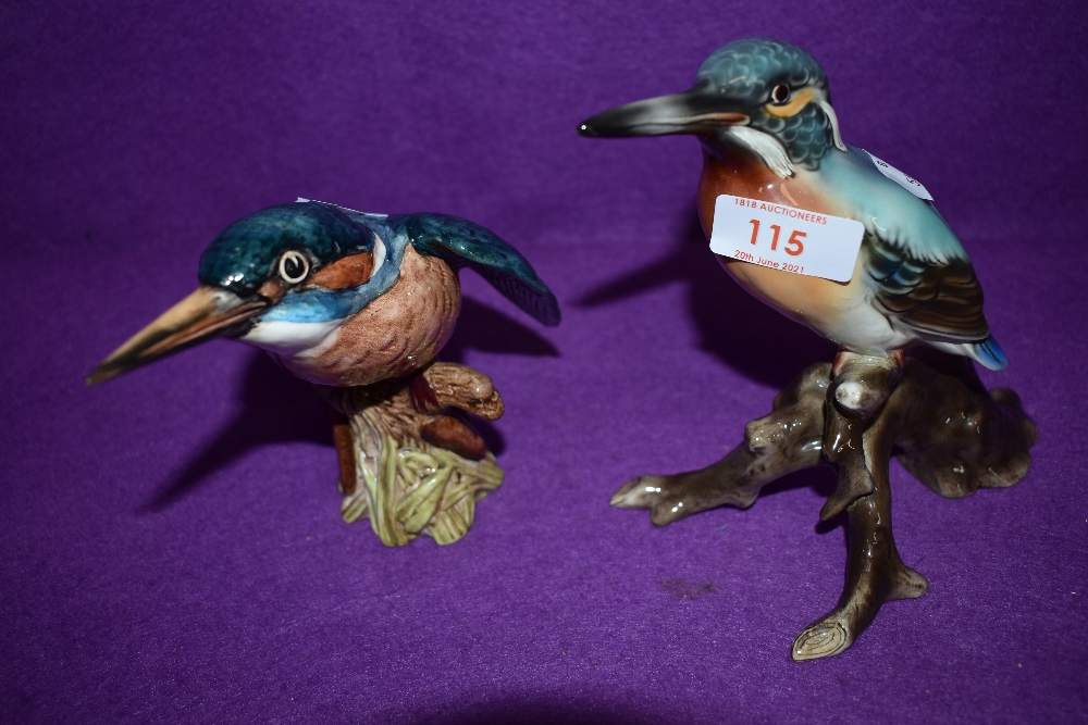 A Beswick study, Kingfisher, model no 2371 along with a similar Austrian study of a Kingfisher