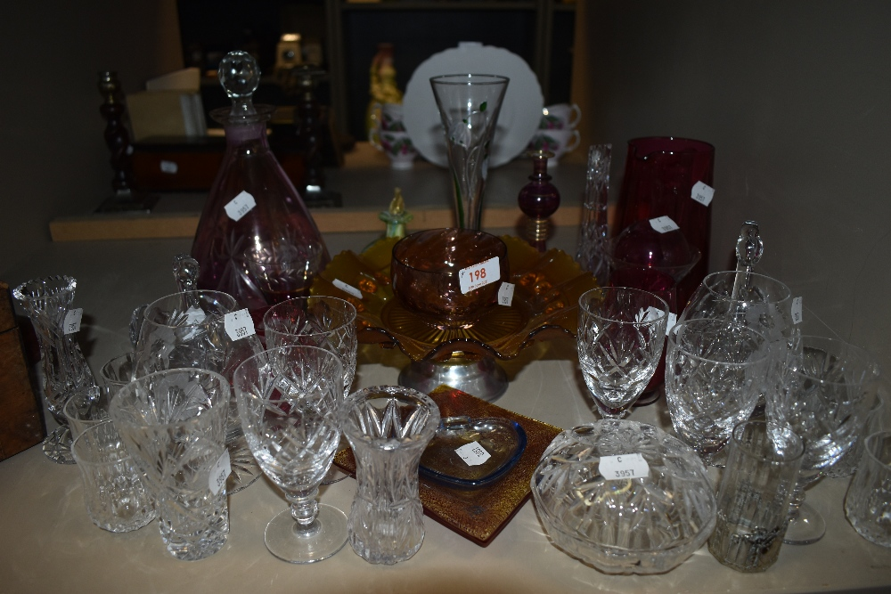 A good quantity of mixed glass including decanter,wine glasses,cut glass and more.
