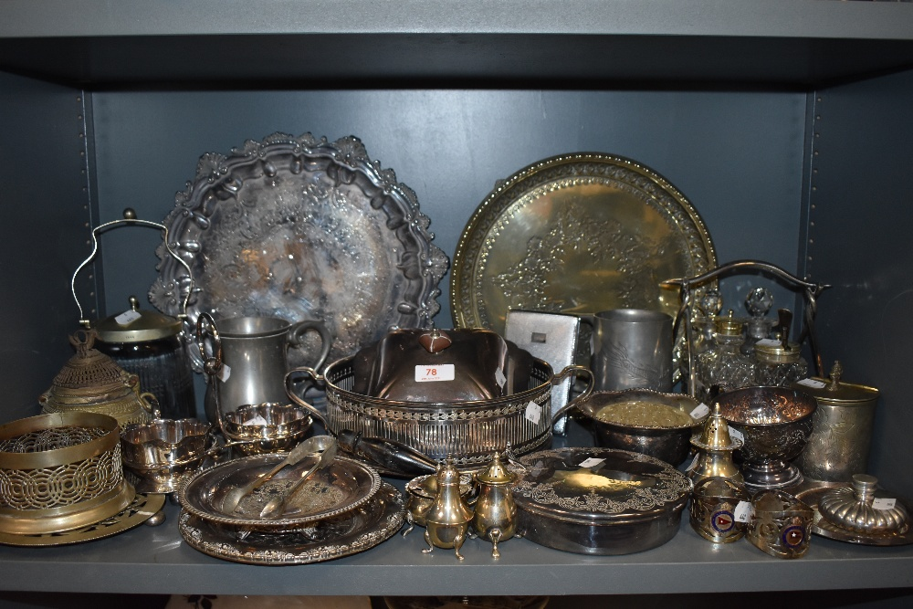A selection of plated metal wares including trays and cruet sets