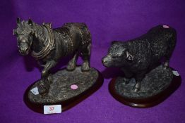 Two animal farm stock figures by Leonardo of a bull and shire horse