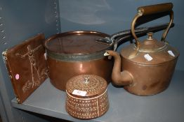 A selection of copper kitchen and bake wares including large lidded stove pan and similar kettle