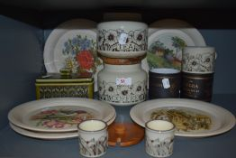 A mixture of Hornsea pottery including egg cups,plates and canisters.