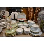 A varied lot of ceramics including cake stand,cups and saucers having floral transfer pattern and