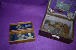 A selection of collectable coins and currency including three pence