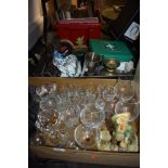 A selection of household decorations and hardware including wine glasses and ceramics also wooden