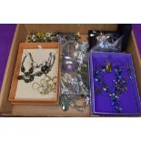 A selection of costume jewellery necklaces of various forms including sets and shell etc