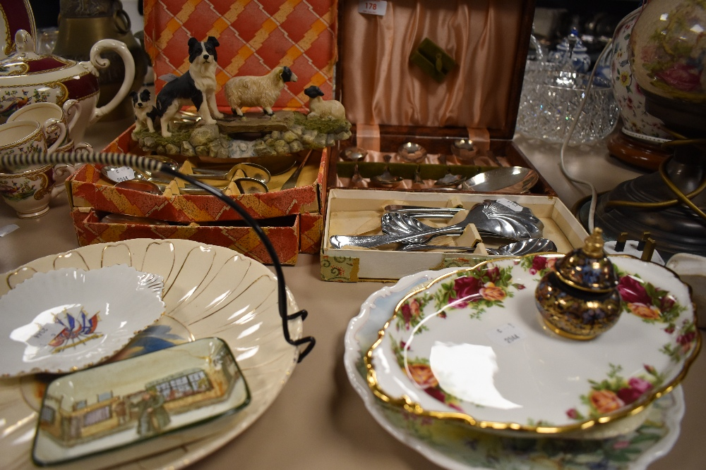 A selection of vintage flat ware and ceramics including cake plate,spoons and more.