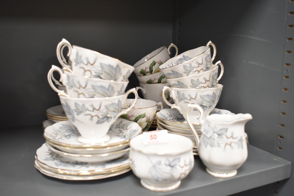 A selection of tea cups and saucers by Aynsley and Crown Royal