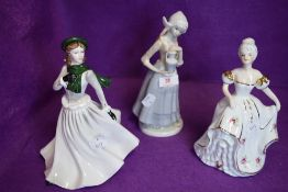 A selection of ceramic figures including milkmaid and Coalport 'Winter stroll'.
