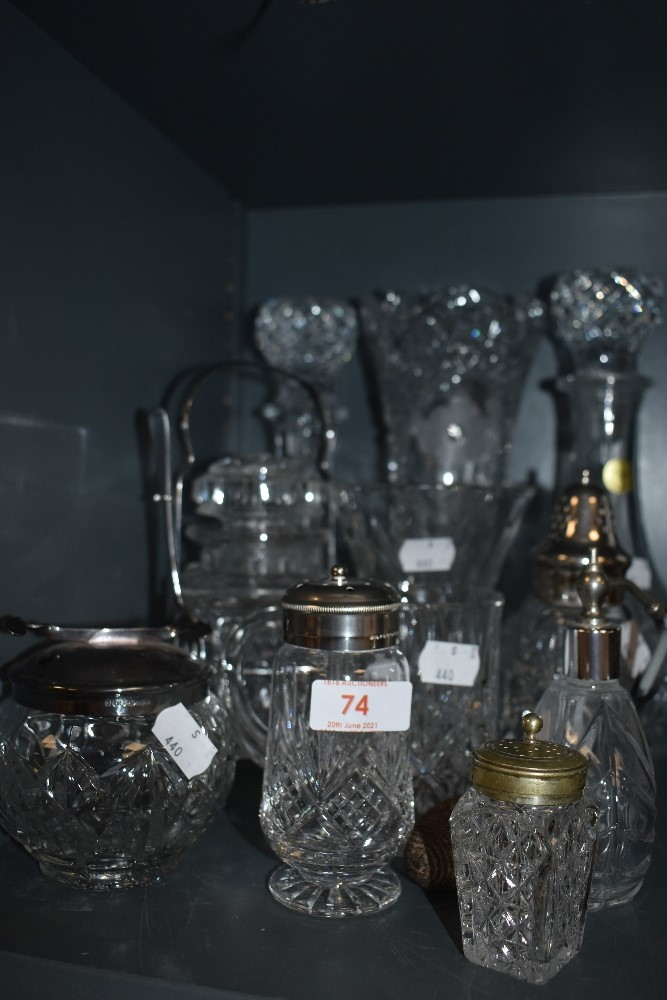 A selection of clear cut glass and similar including atomizer and decanters
