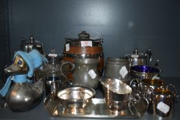 A selection of metal and plated wares including pewter mugs and oak biscuit barrel