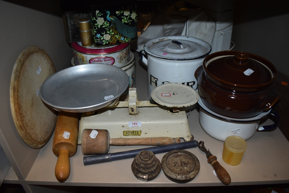 A mixed lot of vintage kitchenalia and similar including enamel flour container,tins, scales and