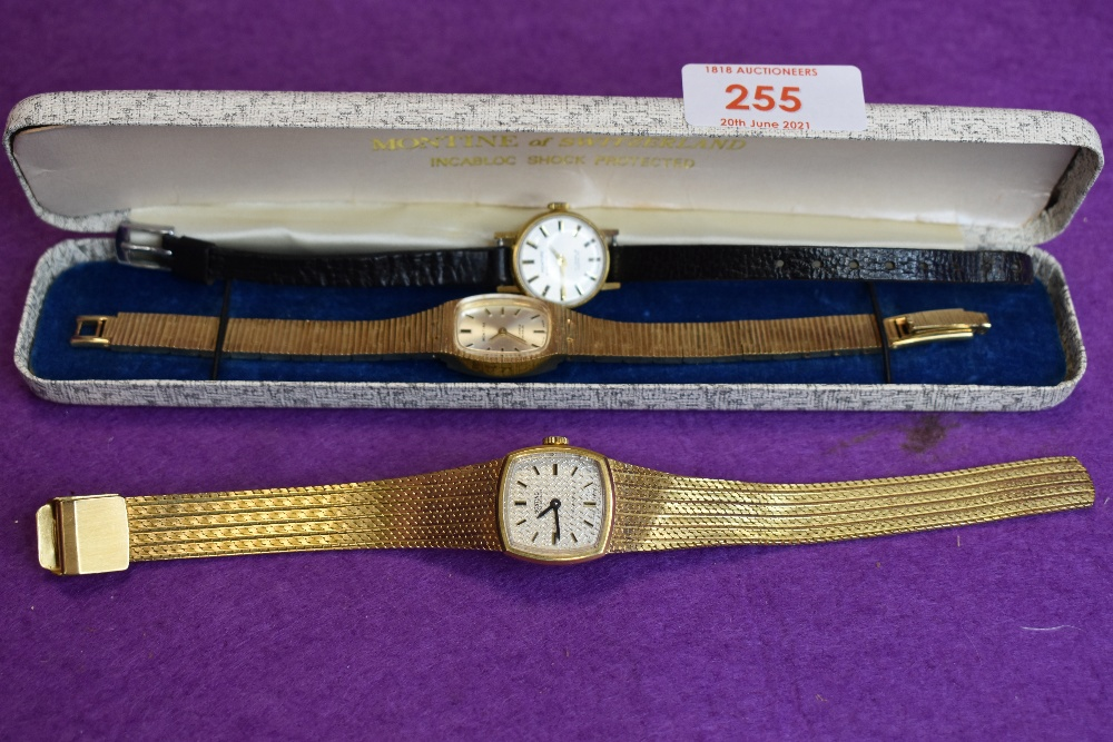 Two Gent's and lady's matched vintage dress watches by Montine, both having baton numeral faces