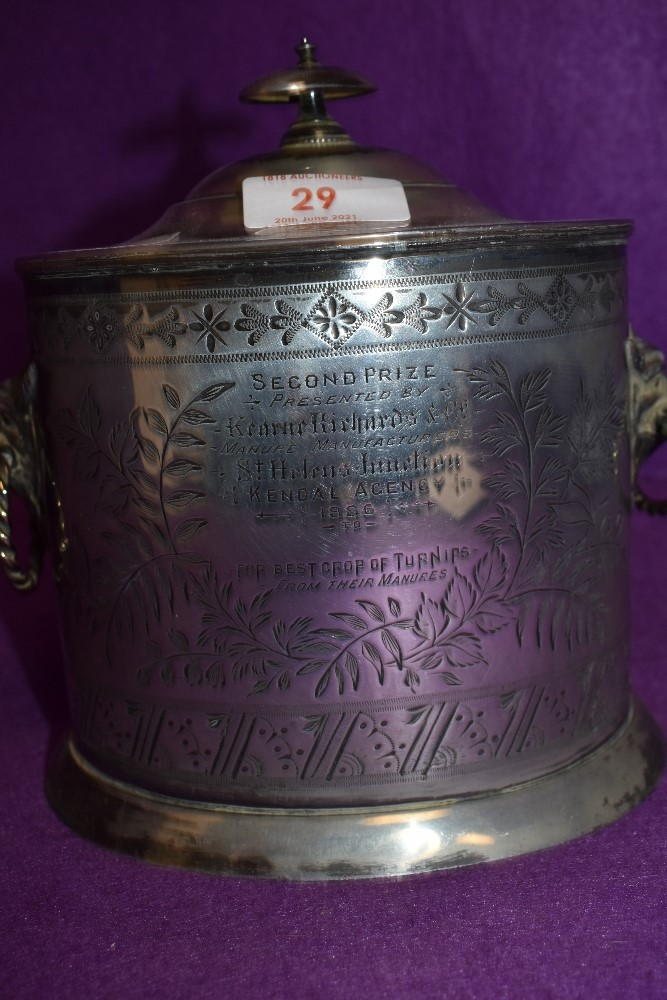 A silver plated biscuit barrel having mythical beast styled handles and retailed by Walker Hall - Image 2 of 2