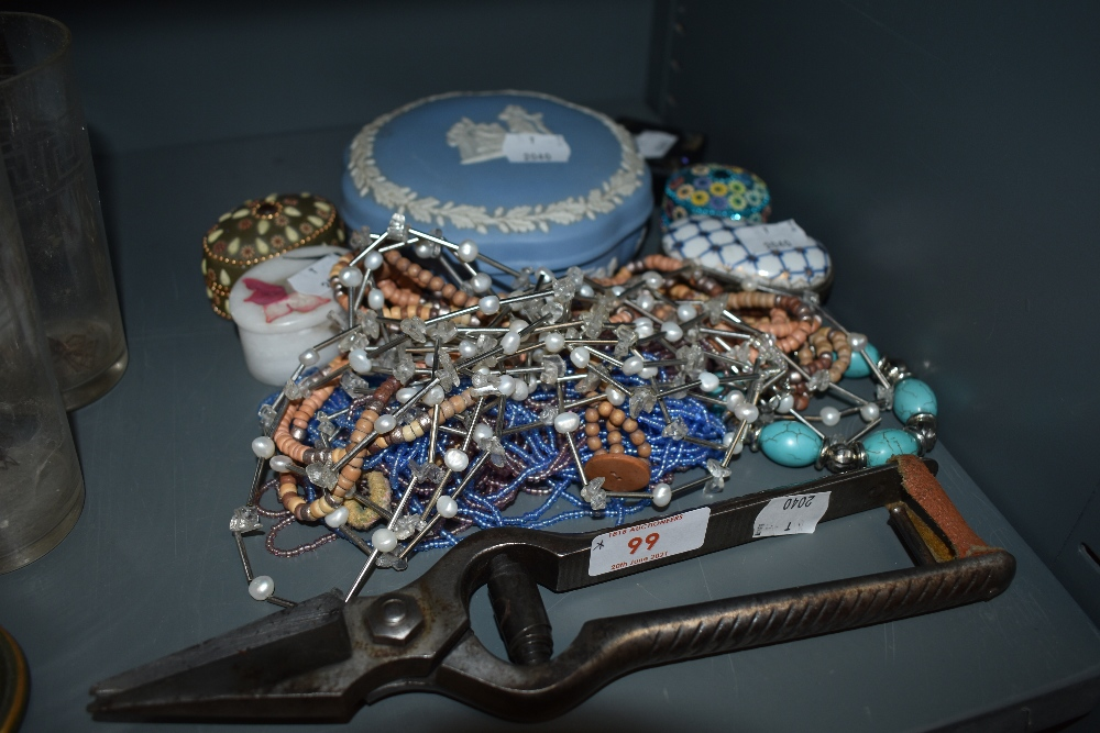 A collection of trinket boxes including Wedgwood , also a set of vintage Burdizzo snips and some