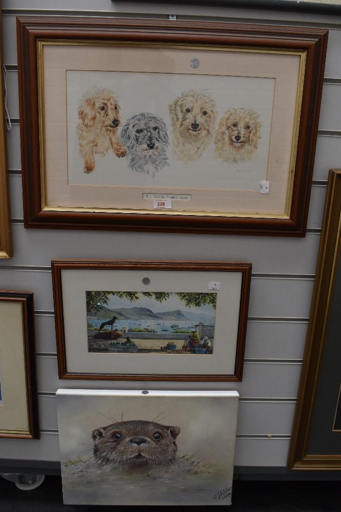 Three original art works including otter beach scene and dog pack