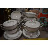 A selection of soup cups and saucers by Royal Doulton in the Spring Zephyr design